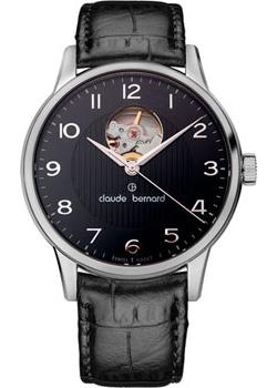 Швейцарские наручные  мужские часы Claude Bernard 85017-3NBN. Коллекция Classic Automatic Open Heart