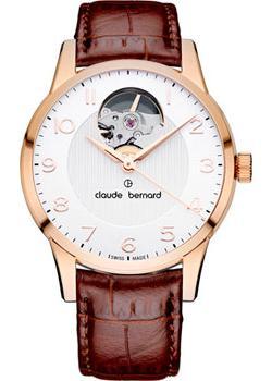 Швейцарские наручные  женские часы Claude Bernard 85018-37RABR. Коллекция Classic Automatic Open Heart