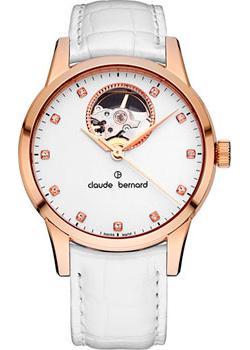 Швейцарские наручные  женские часы Claude Bernard 85018-37RAPR. Коллекция Classic Automatic Open Heart