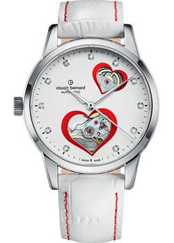 Швейцарские наручные  женские часы Claude Bernard 85018-3BPRON. Коллекция Classic Automatic Open Heart