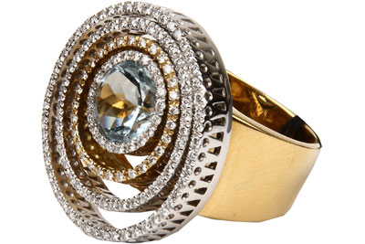 Кольцо, бриллиант, примерным весом в 0.78 карат, чистоты 4/4, аквамамин, примерным весом в 2,00 карат