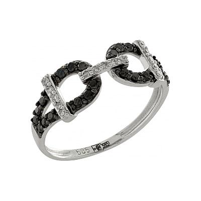 Купить Золотое кольцо 100363, Кольцо с черным и белым бриллиантами. Белое золото 585. 15 бриллиантов, вес 0.06 карат, цвет 2, чистота 3, 24 чёрных бриллиантов, вес 0.192 карат., Ювелирное изделие