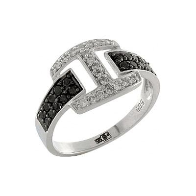 Купить Золотое кольцо 100364, Кольцо с черным и белым бриллиантами. Белое золото 585. 19 бриллиантов, вес 0.152 карат, цвет 2, чистота 3, 20 чёрных бриллиантов, вес 0.19 карат., Ювелирное изделие