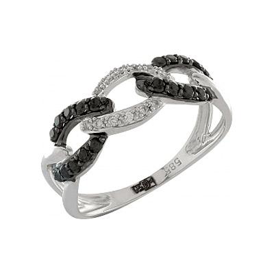 Купить Золотое кольцо 100366, Кольцо с черным и белым бриллиантами. Белое золото 585. 12 бриллиантов, вес 0.048 карат, цвет 2, чистота 3, 20 чёрных бриллиантов, вес 0.28 карат., Ювелирное изделие