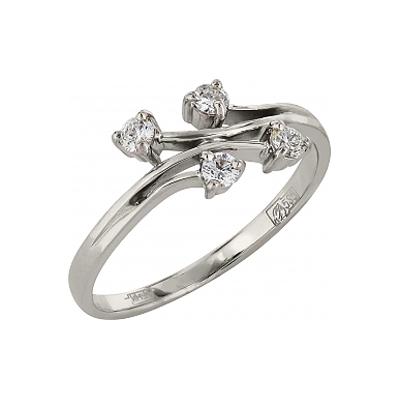 Кольцо с бриллиантами.  Белое золото 585.  4 бриллианта, вес 0.21 карат...