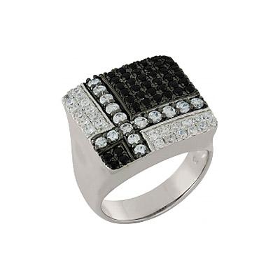 Купить Серебряное кольцо 100900, Кольцо с фианитом. Серебро 925. 40 фианитов, вес 1.057 карат, 39 фианитов, вес 1.431 карат., Ювелирное изделие