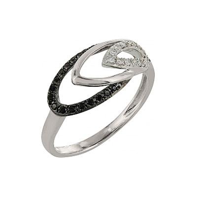 Купить Золотое кольцо 101879, Кольцо с черным и белым бриллиантами. Белое золото 585. 17 бриллиантов, вес 0.076 карат, цвет 2, чистота 3, 26 чёрных бриллиантов, вес 0.148 карат., Ювелирное изделие