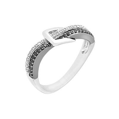 Купить Золотое кольцо 101886, Кольцо с чёрным и белым бриллиантами, белое золото 585 пробы. Примерный вес изделия - 2.654 гр., вставки: 25 бриллиантов, суммарный средний вес камней 0.097 карат, цвет 3, чистота 4, 25 чёрных бриллиантов, суммарный средний вес камней 0.119 карат., Ювелирное изделие