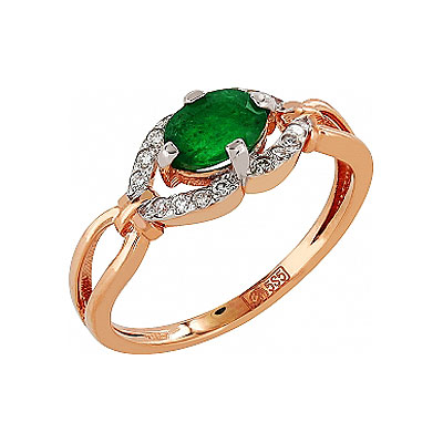 Кольцо с бриллиантом и изумрудом. Золото 585. Примерный вес изделия - 1,815 гр.. - Золотое кольцо  103606