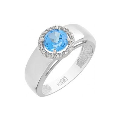Кольцо с топазом и фианитами. Вставки - 1 топаз, суммарный средний вес камней 0.972 карат20 фианитов, суммарный средний вес камней 0.03 карат. Белое золото 585. - Золотое кольцо  103995