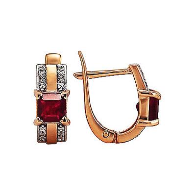 Купить Золотые серьги 104393, Серьги с бриллиантом и рубином. Вставки - 16 бриллиантов, суммарный средний вес камней 0.107 карат, цвет 3, чистота 52 рубина, суммарный средний вес камней 0.936 карат, цвет 1, чистота 1. Красное золото 585., Ювелирное изделие