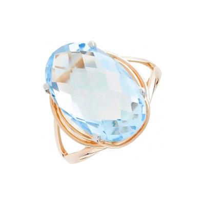 Кольцо с топазом. Вставки - 1 топаз, суммарный средний вес камней 8.09 карат. Красное золото 585. - Золотое кольцо  105566