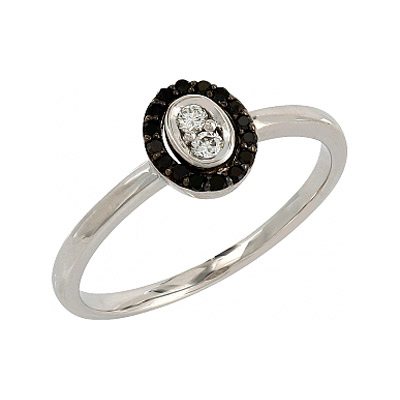 Купить Золотое кольцо 106685, Кольцо с черными и белыми бриллиантами. Белое золото 585, 16 чёрных бриллиантов, средний вес камня 0.09 карат, 2 бриллианта, средний вес камня 0.06 карат, цвет 2, чистота 2., Ювелирное изделие