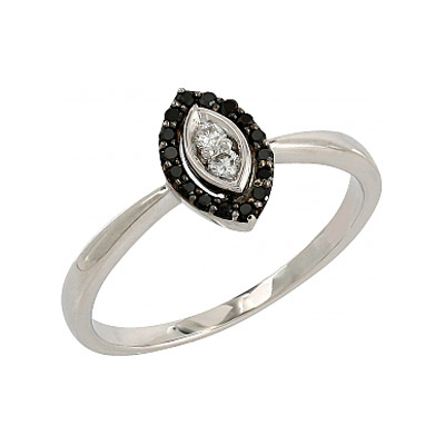 Купить Золотое кольцо 106689, Кольцо с черными и белыми бриллиантами. Белое золото 585, 16 чёрных бриллиантов, средний вес камня 0.08 карат, 2 бриллианта, средний вес камня 0.05 карат, цвет 3, чистота 5., Ювелирное изделие