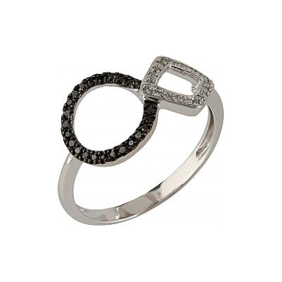 Купить Золотое кольцо 107092, Кольцо с черными и белыми бриллиантами. Белое золото 585, 20 бриллиантов, средний вес камня 0.041 карат, цвет 2, чистота 2, 23 чёрных бриллиантов, средний вес камня 0.08 карат., Ювелирное изделие
