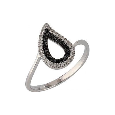 Купить Золотое кольцо 107096, Кольцо с черными и белыми бриллиантами. Белое золото 585, 32 бриллиантов, средний вес камня 0.095 карат, цвет 2, чистота 2, 22 чёрных бриллиантов, средний вес камня 0.043 карат., Ювелирное изделие
