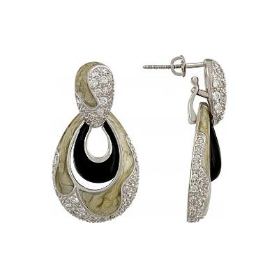 Купить Серебряные серьги 107153, Серьги с фианитом и эмалью. Серебро 925, 102 фианитов, средний вес камня 2.871 карат., Ювелирное изделие