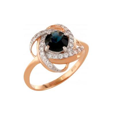Кольцо с сапфиром и фианитом, красное золото 585 пробы. Примерный вес изделия - 2.692 гр., вставки: 1 сапфир, суммарный средний вес камней 0.85 карат, цвет 2, чистота 2, 28 фианитов, суммарный средний вес камней 0.084 карат. - Золотое кольцо  111643