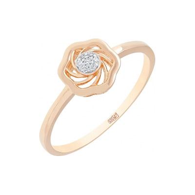Золотое кольцо  113784 - Ювелирное изделиеКольцо с бриллиантом. Вставки - 7 бриллиантов, суммарный средний вес камней 0.021 карат, цвет 2, чистота 2. Красное золото 585.<br>