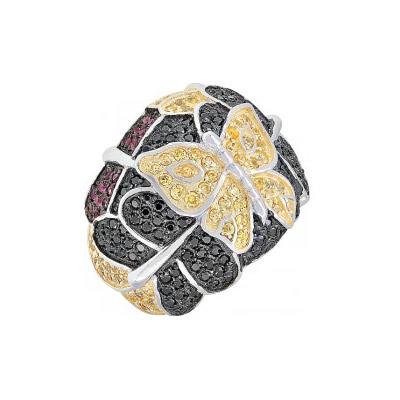 Купить Серебряное кольцо 115642, Кольцо с фианитом черным и золотым покрытием, серебро 925 пробы. Примерный вес изделия - 12.792 гр., вставки: 30 фианитов, суммарный средний вес камней 0.6 карат, 87 фианитов, суммарный средний вес камней 1.75 карат, 70 фианитов, суммарный средний вес камней 1.5 карат., Ювелирное изделие
