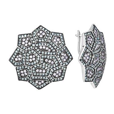Купить Серебряные серьги 118356, Серьги с фианитом, серебро 925 пробы. Примерный вес изделия - 19.332 гр., вставки: 372 фианитов, суммарный средний вес камней 7.44 карат, 98 фианитов, суммарный средний вес камней 2.82 карат., Ювелирное изделие