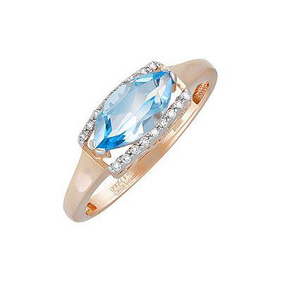 Кольцо с топазом и фианитом. Красное золото 585. Вес 2,279гр. ;1 топаз, суммарный средний вес камней 1.227 карат;18 фианитов, суммарный средний вес камней 0.023 карат. - Золотое кольцо  131562