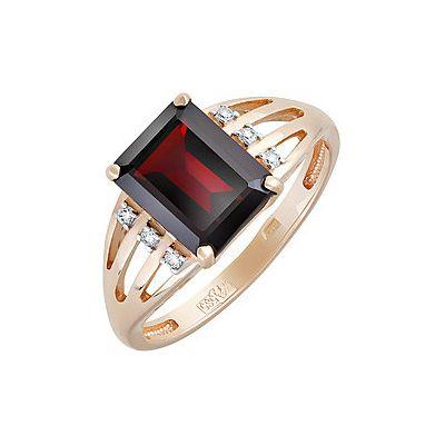 Купить Золотое кольцо 131667, Кольцо с гранатом и фианитом. Красное золото 585. Вес 2, 939гр. ;6 фианитов, суммарный средний вес камней 0.018 карат;1 гранат, суммарный средний вес камней 2.785 карат., Ювелирное изделие