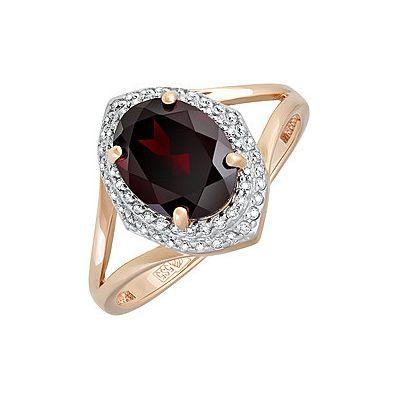 Купить Золотое кольцо 131676, Кольцо с гранатом и фианитом. Красное золото 585. Вес 2, 662гр. ;60 фианитов, суммарный средний вес камней 0.06 карат;1 гранат, суммарный средний вес камней 2.053 карат., Ювелирное изделие