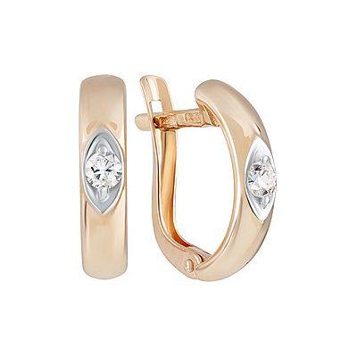 Купить Золотые серьги 133892, Серьги с фианитом. Красное золото 585. Вес 2, 071гр. ;2 фианита, суммарный средний вес камней 0.24 карат., Ювелирное изделие
