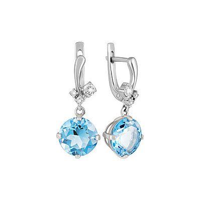 Купить Серебряные серьги 134252, Серьги с топазом и фианитом. Серебро 925. Вес 4, 653гр. ;2 фианита, суммарный средний вес камней 0.01 карат;2 фианита, суммарный средний вес камней 0.08 карат;2 фианита, суммарный средний вес камней 0.016 карат;2 топаза, суммарный средний вес камней 8.1 карат., Ювелирное изделие