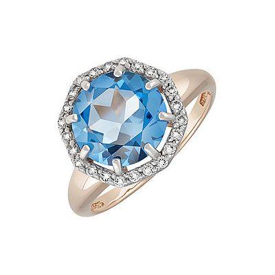 Кольцо с топазом и фианитом. Красное золото 585. Вес 3,596гр. ;1 топаз, суммарный средний вес камней 3.137 карат;24 фианитов, суммарный средний вес камней 0.072 карат. - Золотое кольцо  134442