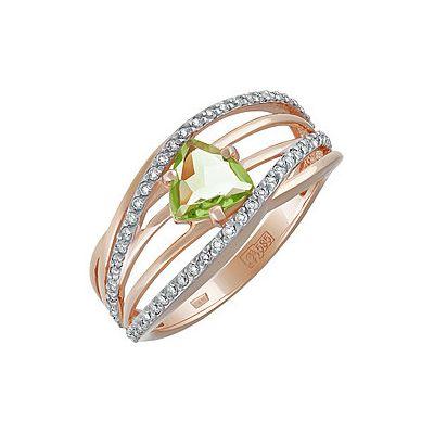 Купить Золотое кольцо 134475, Кольцо с хризолитом и фианитом. Красное золото 585. Вес 2, 797гр. ;1 хризолит, суммарный средний вес камней 0.76 карат;58 фианитов, суммарный средний вес камней 0.075 карат., Ювелирное изделие