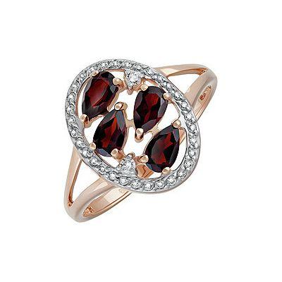 Купить Золотое кольцо 135460, Кольцо с гранатом и фианитом. Красное золото 585. Вес 2, 662гр. ;4 граната, суммарный средний вес камней 1.163 карат;2 фианита, суммарный средний вес камней 0.012 карат;32 фианитов, суммарный средний вес камней 0.042 карат., Ювелирное изделие