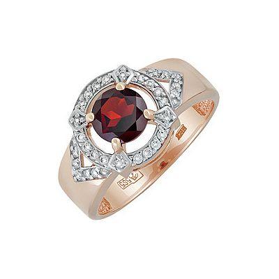 Купить Золотое кольцо 137530, Кольцо с гранатом и фианитом. Красное золото 585. Вес 3, 737гр. ;1 гранат, суммарный средний вес камней 0.908 карат;30 фианитов, суммарный средний вес камней 0.051 карат., Ювелирное изделие