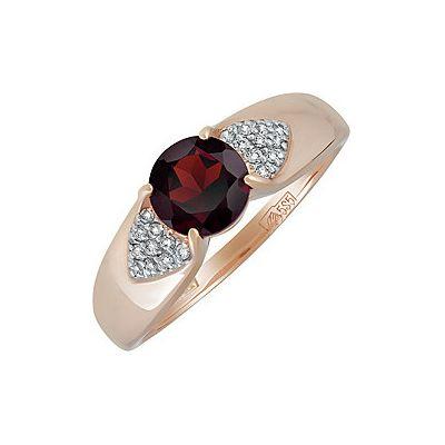Купить Золотое кольцо 138112, Кольцо с гранатом и фианитом. Красное золото 585. Вес 2, 22гр. ;1 гранат, суммарный средний вес камней 0.959 карат;20 фианитов, суммарный средний вес камней 0.026 карат., Ювелирное изделие