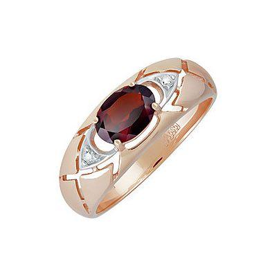 Кольцо с гранатом и фианитом. Красное золото 585. Вес 3,345гр. ;1 гранат, суммарный средний вес камней 0.94 карат;2 фианита, суммарный средний вес камней 0.012 карат. - Золотое кольцо  139054