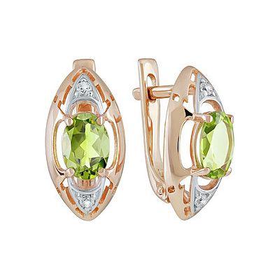Купить Золотые серьги 139087, Серьги с хризолитом и фианитом. Красное золото 585. Вес 3, 15гр. ;2 хризолита, суммарный средний вес камней 1.573 карат;4 фианита, суммарный средний вес камней 0.024 карат., Ювелирное изделие