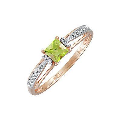 Купить Золотое кольцо 139764, Кольцо с хризолитом и фианитом. Красное золото 585. Вес 1, 4гр. ;1 хризолит, суммарный средний вес камней 0.377 карат;12 фианитов, суммарный средний вес камней 0.02 карат;4 фианита, суммарный средний вес камней 0.005 карат., Ювелирное изделие