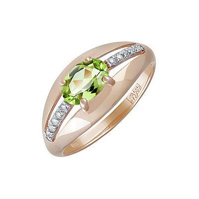 Купить Золотое кольцо 139771, Кольцо с хризолитом и фианитом. Красное золото 585. Вес 2, 289гр. ;1 хризолит, суммарный средний вес камней 0.813 карат;10 фианитов, суммарный средний вес камней 0.03 карат., Ювелирное изделие