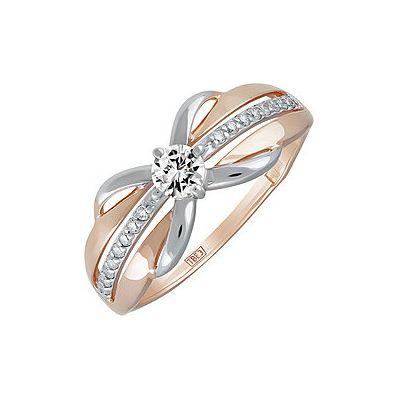Купить Золотое кольцо 139943, Кольцо с фианитом. Красное золото 585. Вес 1, 667гр. ;1 фианит., Ювелирное изделие
