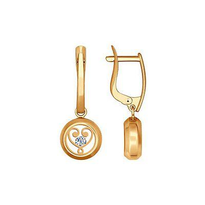 Серьги с плавающими фианитами . Красное золото 585. Вес 3,915гр. ;4 мин. стеклоа;2 фианита. - Золотые серьги  141615