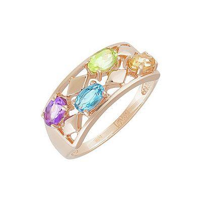 Купить Золотое кольцо 141825, Кольцо с полудрагоценными вставками . Красное золото 585. Вес 3, 08гр. ;1 аметист, суммарный средний вес камней 0.218 карат;1 топаз, суммарный средний вес камней 0.279 карат;1 хризолит, суммарный средний вес камней 0.253 карат;1 цитрин, суммарный средний вес камней 0.253 карат., Ювелирное изделие