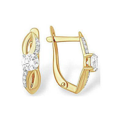 Купить Золотые серьги 141948, Серьги с кристаллом SWAROVSKI и фианитом. Красное золото 585. Вес 2, 586гр. ;2 а, суммарный средний вес камней 0.254 карат;12 фианитов, суммарный средний вес камней 0.021 карат;4 фианита, суммарный средний вес камней 0.003 карат., Ювелирное изделие