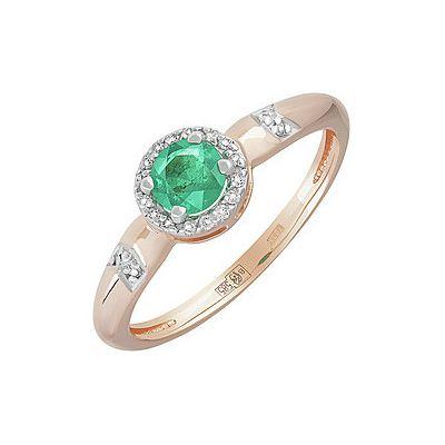 Кольцо с бриллиантом и изумрудом. Красное золото 585. Вес 1,754гр. ;4 бриллианта, суммарный средний вес камней 0.012 карат, цвет 3, чистота 5;16 бриллиантов, суммарный средний вес камней 0.045 карат, цвет 2, чистота 5;1 , суммарный средний вес камней 0.30