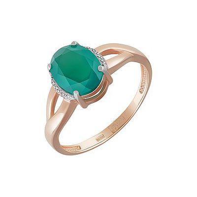 Купить Золотое кольцо 162072, Кольцо с зелёным ониксом и фианитом. Красное золото 585. Вес 2, 559гр. ., Ювелирное изделие
