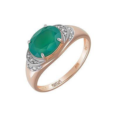 Купить Золотое кольцо 162073, Кольцо с зелёным ониксом и фианитом. Красное золото 585. Вес 2, 79гр. ., Ювелирное изделие