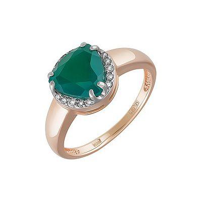 Купить Золотое кольцо 162075, Кольцо с зелёным ониксом и фианитом. Красное золото 585. Вес 2, 349гр. ., Ювелирное изделие