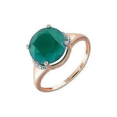 Купить Золотое кольцо 162077, Кольцо с зелёным ониксом и фианитом. Красное золото 585. Вес 2, 462гр. ., Ювелирное изделие
