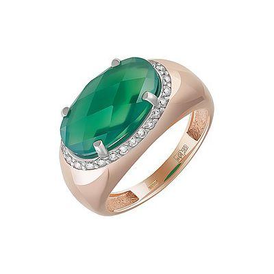 Купить Золотое кольцо 162929, Кольцо с зелёным ониксом и фианитом. Красное золото 585. Вес 4, 425гр. ;1, суммарный средний вес камней 2.973 карат;26 фианитов, суммарный средний вес камней 0.078 карат., Ювелирное изделие