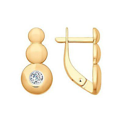 1b20f488 Best Watch Золотые серьги 163984, Серьги с фианитом. Красное золото 585.  Вес 2, 21гр